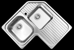 Space saving left hand kitchen corner sink