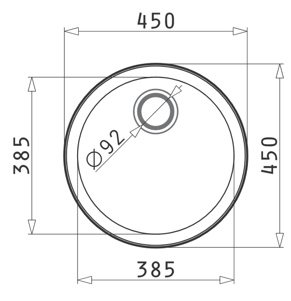 Inset Kitchen Prep Bowl Without Tap Landing Dimensions
