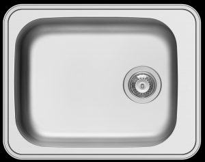 Small stainless steel inset kitchen wash trough