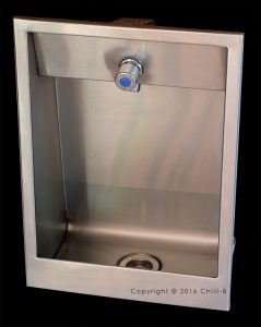Prison recessed drinking fountain with tap