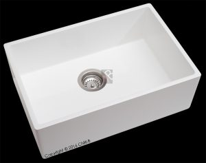 Single white composite butler kitchen sink 600x400x200-mm