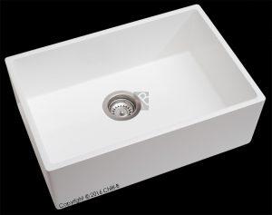 Single white composite butler kitchen sink 600x400x200-mm