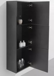Side cabinet 1500 mm high in blackwood finish.