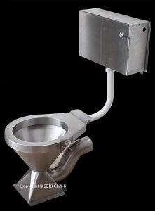 Stainless steel toilet with cistern vandal proof