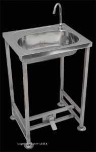 C-FSB-F Free standing foot operated hands free basin