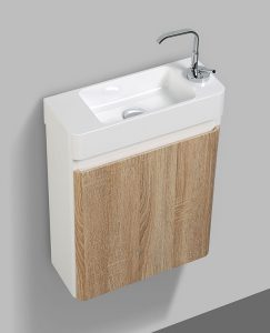 Milan 450mm modern white oak bathroom vanity