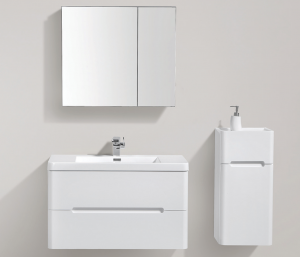 Venice 900 DD vanity with side cabinet and 750 mm mirror
