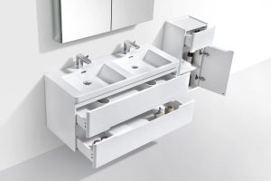 VENICE 1200mm white gloss two drawers vanity and cabinet-mirror