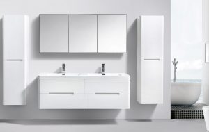 Large double white bathroom vanity