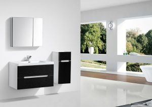 venice modern 900mm single basin bathroom vanity black white