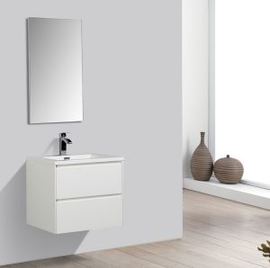 two drawer small modern white vanity bathroom installed lifestyle image