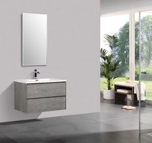 Enzo 800 double drawer vanity in Concrete with basin