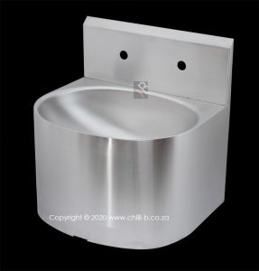 heavy duty small wall hung basin with splashback
