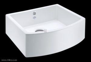 Rounded front ceramic butler sink
