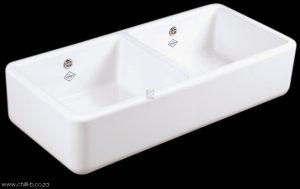 double bowl shaws fireclay apron sink
