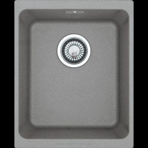 small grey undermount under slung granite kitchen sink