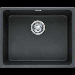 black undermount under slung granite kitchen sink