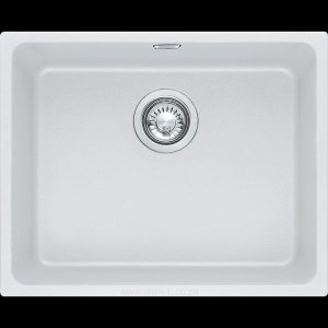 white under-mount under slung granite kitchen sink