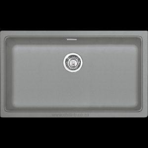 large modern grey under mounted under slung granite kitchen sink