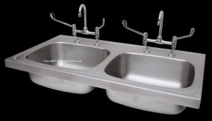 Double bowl medical sink Cobra 515-21/N medical elbow lever taps stainless steel 2620259 353160